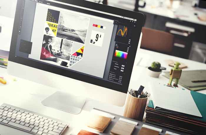image of web design process and iMac computer