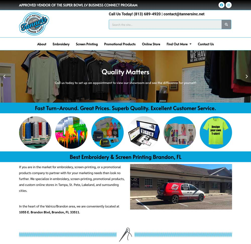 Website Redesign After photo Tanner's Inc